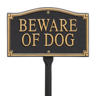"Whitehall ""Beware of Dog"" Statement Marker -Wall/Lawn - Black/Gold - Aluminum"