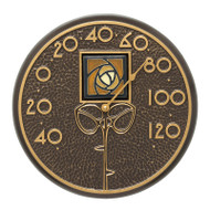 "Whitehall Amber Dard Hunter Rose 12"" Indoor Outdoor Wall Thermometer - French Bronze"