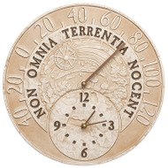 """Whitehall Celestial 14"""" Indoor Outdoor Wall Clock & Thermometer"""