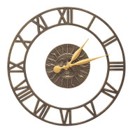 "Whitehall Sunface Floating Ring 21"" Indoor Outdoor Wall Clock  - French Bronze"