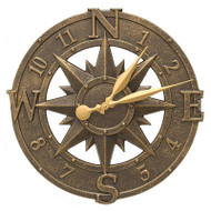 "Whitehall 16"" Compass Rose Clock Indoor Outdoor"