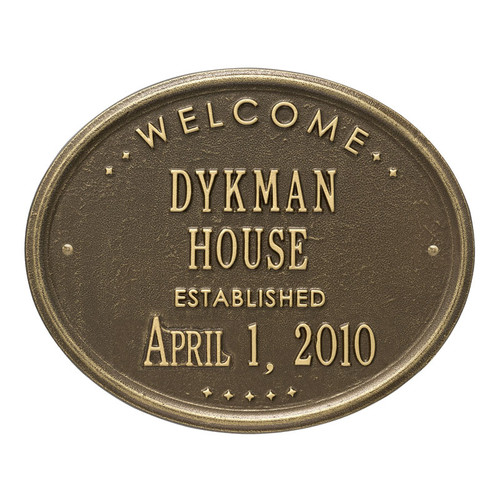 """Whitehall Welcome Oval """"HOUSE"""" Established Personalized Plaque"""
