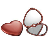 Compact Double Heart Mirror