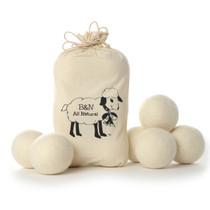 100% Natural Wool Dryer Balls in Cute Reusable Linen Bag - 6 pack