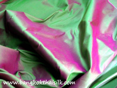 Emerald Shot Pink 100% Authentic Silk Fabric