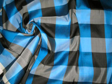 Blue Black Check 100% AUTH Silk Fabric