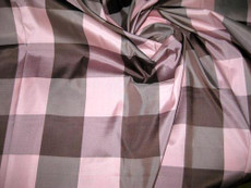 Pink Brown Check 100% AUTH Silk Fabric