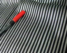 Black & Silver Pin Stripe 100% AUTH Silk Fabric