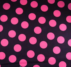 Pink Polka Dots on Black Cotton