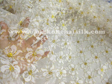 Bows Embroidered Net Mesh Fabric - White & Gold