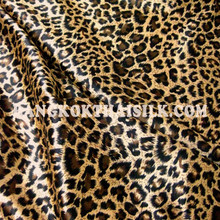 "Cheetah Leopard Faux Silk Satin 48""W Fabric - Gold Brown"