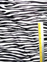 "Zebra Black & White Animal Print Satin Fabric 48""W"