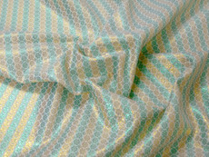 Stripe Floral Bling Bling Metallic Brocade Fabric - Emerald & Gold