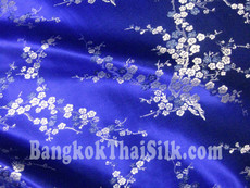 Blue & Silver Silk Shantung Cherry Blossom Brocade