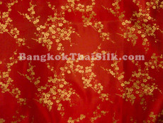 Red & Gold Silk Shantung Cherry Blossom Brocade