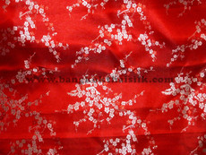 Red & Silver Silk Shantung Cherry Blossom Brocade