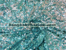 Sequin Mesh Dangle Fabric - Turquoise & Silver