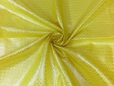 Floral Bling Bling Metallic Brocade Fabric - Yellow & Silver