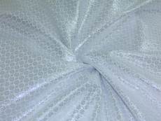 Floral Bling Bling Metallic Brocade Fabric - White & Silver