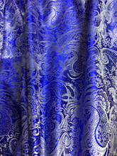 Paisley Metallic Brocade Fabric - Royal Blue & Silver