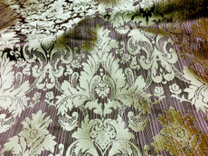 Damask Faux Silk Fabric - Purple & Gold