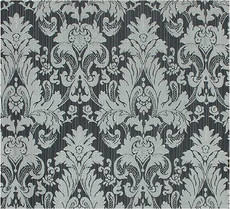 Damask Faux Silk Fabric - Black & Silver