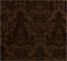Damask Faux Silk Fabric - Brown & Chocolate