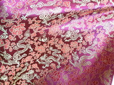 Purple Fuchsia w Gold & Red Silk Shantung Dragon Brocade Fabric