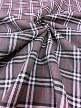 "Plaid Tartan Woven Cotton Fabric 44""W Gray White Black"