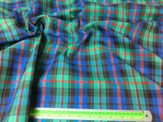 "Plaid Tartan Woven Cotton Fabric 44""W - Green Blue Red"