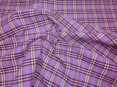 "Plaid Tartan Woven Cotton Fabric 44""W - Lavender Purple"