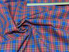 "Plaid Tartan Woven Cotton Fabric 44""W - Red Blue"