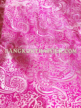 Paisley Metallic Brocade Fabric - Fuchsia Pink & Silver