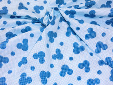 Mickey Mouse Polka dot on Blue Poly Cotton - Blue