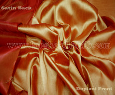Heavy Silky Dupioni with Satin Back Fabric - Orange Firefly