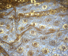 Jasmine Flower Embroidered Net Mesh Fabric - Old Gold