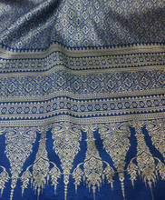 "Thai Silk Damask 40""W Fabric (LD) - Royal Blue & Gold"