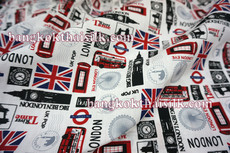 London Bus & Big Ben Print Poly Cotton Fabric