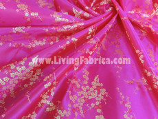 Hot Pink & Gold Silk Shantung Cherry Blossom Brocade Fabric