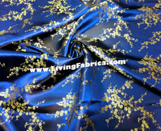 Royal Blue & Gold Silk Shantung Cherry Blossom Brocade
