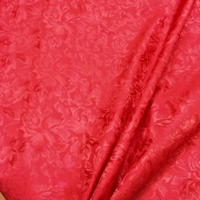 Red on Red Floral Brocade Faux Silk Shantung Fabric