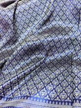 """Thai Silk Damask 40""""W Fabric - Blue & Gold"""