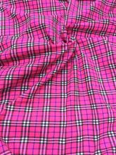 "Plaid Tartan Print Cotton Blend Fabric 44""W - Hot Pink"