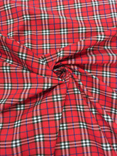 "Plaid Tartan Print Cotton Blend Fabric 44""W - Red"