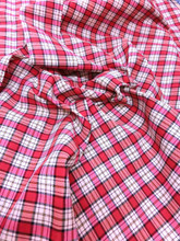 "Plaid Tartan Woven Cotton Fabric 44""W - Red Ivory Pink"