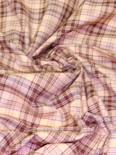 "Plaid Tartan Woven Cotton Fabric 44""W - Light Brown"