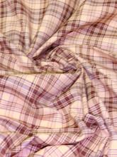 "Plaid Tartan Woven Cotton Fabric 44""W - Light Brown"