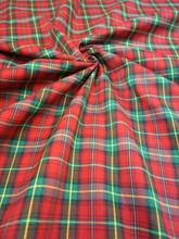 "Plaid Tartan Woven Cotton Fabric 44""W - Red Green"