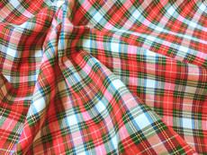"Plaid Tartan Woven Cotton Fabric 44""W - Red Blue Cream"