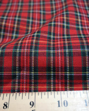 "Plaid Tartan Woven Cotton Fabric 44""W Small Plaid - Red Black Yellow"